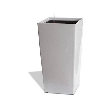 Algreen Modena Square Self-Watering Planter With Water Level Guide, Glossy White