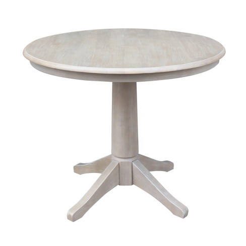 Round Top 36 X Solid Wood Pedestal Dining Table Weathered Gray International Concepts