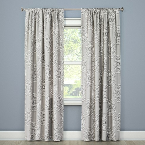 Tile Medallion Curtain Panel Gray 54 Quot X108 Quot Threshold