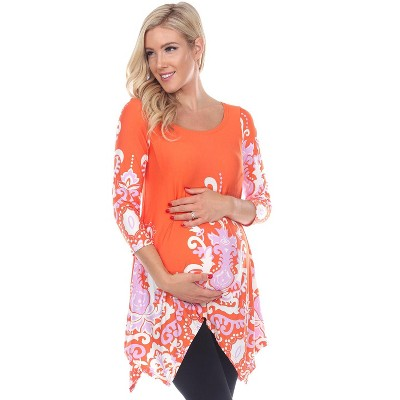 Maternity Scoop Neck Ganette Tunic with Pockets - White Mark