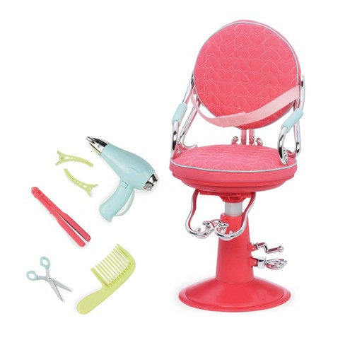 Our Generation Sitting Pretty Doll Salon Chair - Pink Quilted Hearts