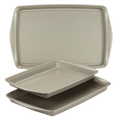 Rachael Ray 3pc Nonstick Bakeware Cookie Pan Set Silver