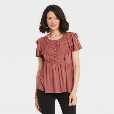 Women's Flutter Short Sleeve Blouse - Knox Rose™