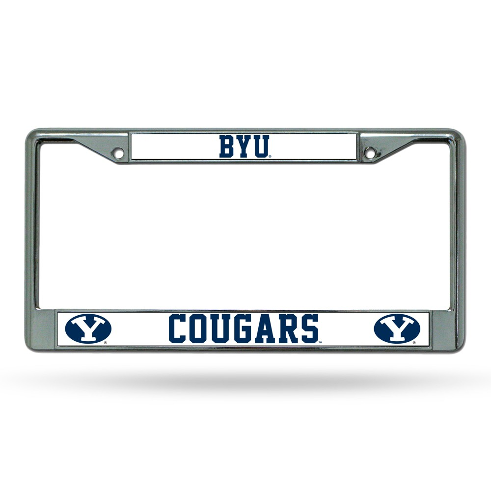 Byu Cougars Rico Industries Chrome License Plate Frame