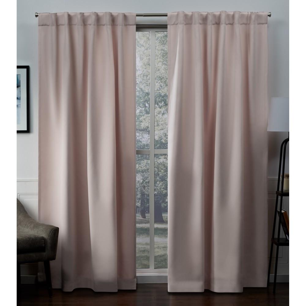 52x63 Sateen Blackout Hidden Tab Window Curtain Panel Pair Blush - Exclusive Home, Blush Pink