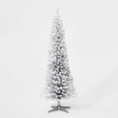 6ft Pre-lit Silver Tinsel Alberta Spruce Artificial Christmas Tree Clear Lights - Wondershop™
