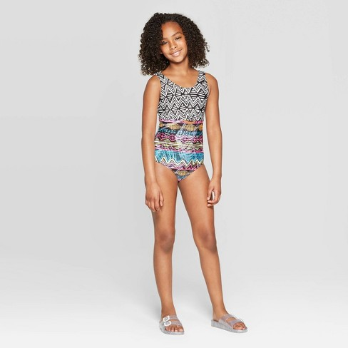 Girls' Tribal Lineage One Piece Swimsuit - art class™ Black - image 1 of 3