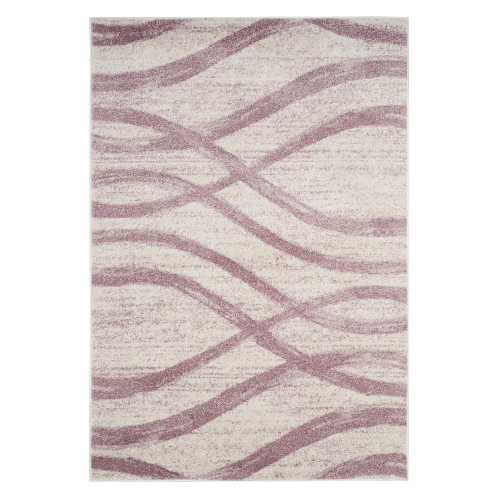 6'X9' Wave Area Rug Cream/Purple - Safavieh, Off-White Purple