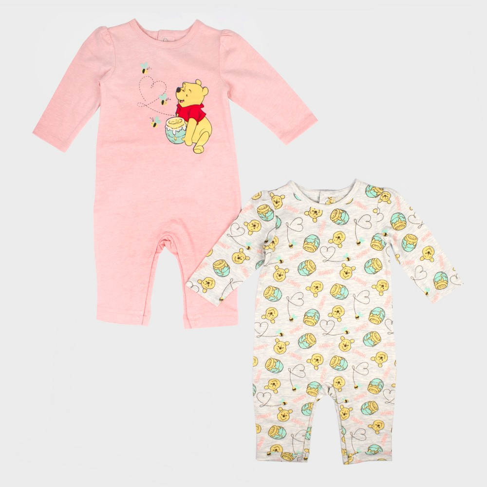 Baby Girls' 2pk Disney Winnie the Pooh Long Sleeve Romper Set - Pink/White 6-9M, Orange