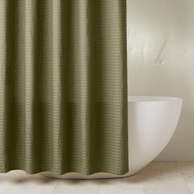 Waffle Shower Curtain Moss Green - Casaluna™