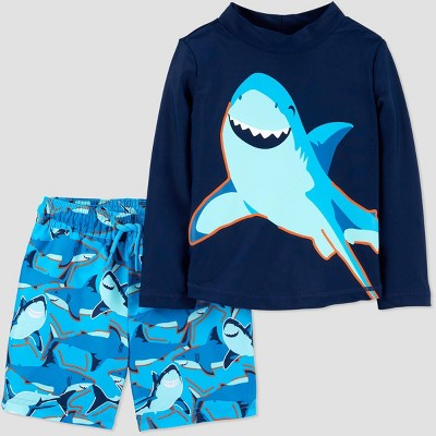 Baby Boys' Shark Swim Rash Guard Set - Just One You® made by carter's Blue 3M