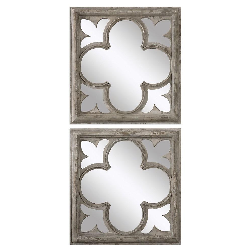 Image of Square Vellauni Quatrefoil Mirror Set of 2 White - Uttermost