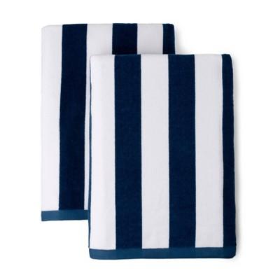 2pk Boardwalk Cabana Striped Beach Towels Navy - Martha Stewart