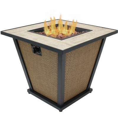 """Sunnydaze Reykir Modern Smokeless Metal Outdoor Fire Pit with Tile Tabletop and Rafa Fabric Sides - 24"""" H"""