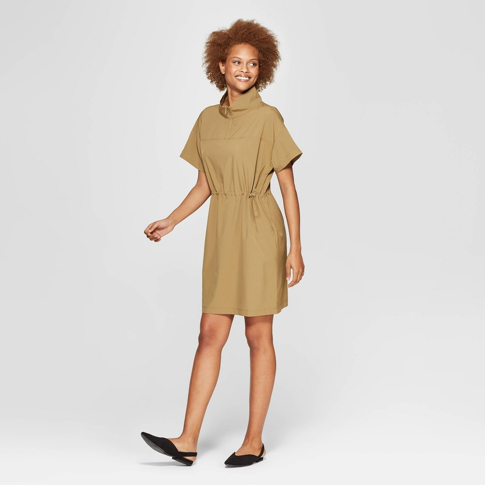 Women's Short Sleeve Collared Tunic Dress - Prologue Olive (Green) XS