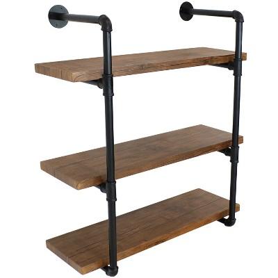 3-Tier Industrial Pipe Wall-Mounted Floating Shelf - Teak Veneer - Sunnydaze Decor