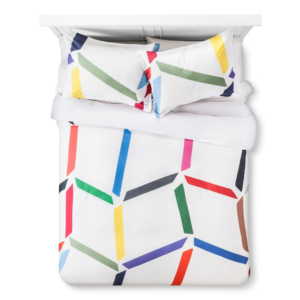 Image of Artwork Series: 'Angular Beat' By Jessica Snow Duvet Cover Set (Full/Queen) - AiR, Multicolored