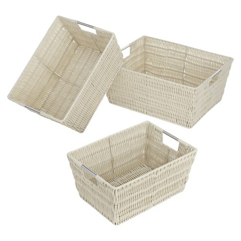 Whitmor Rattique Nesting Cube Storage Basket Set of 3 - Latte - image 1 of 1