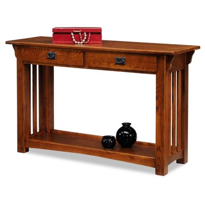 Mission Console Table With Drawers And Shelf   Medium Oak   Leick Furniture