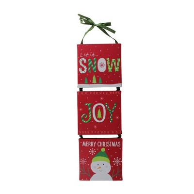 "Northlight 15.5"" LED Fiber Optic 3-Panel Red Snowman Christmas Wall Art Decoration"