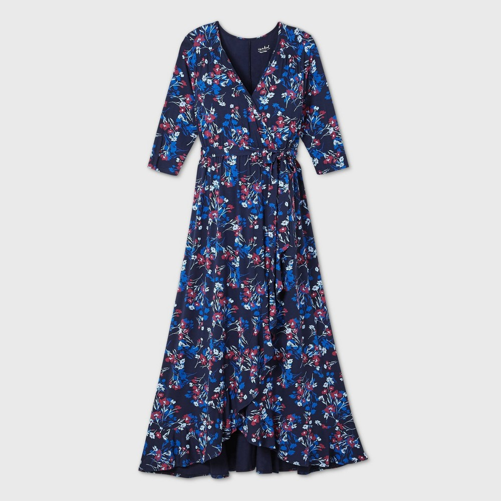 Vintage Maternity Clothes History Floral Print 34 Sleeve Knit Wrap Maternity Dress - Isabel Maternity by Ingrid  Isabel Navy XXL Blue $34.99 AT vintagedancer.com