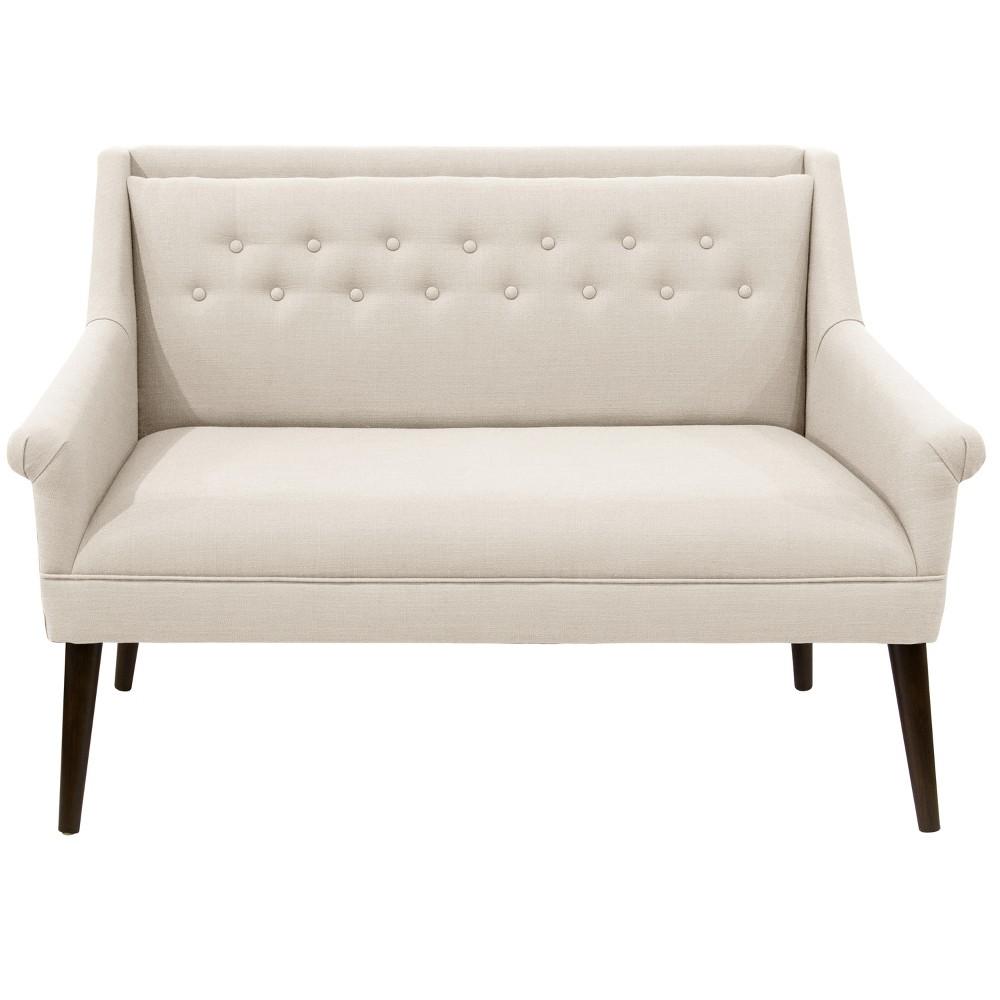 Button Tufted Settee Talc Linen - Skyline Furniture