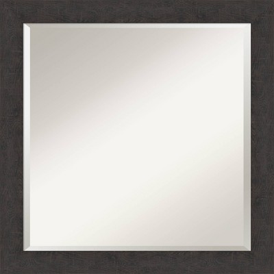 "23"" X Rustic Plank Narrow Framed Bathroom Vanity Wall Mirror Espresso Brown - Amanti Art"