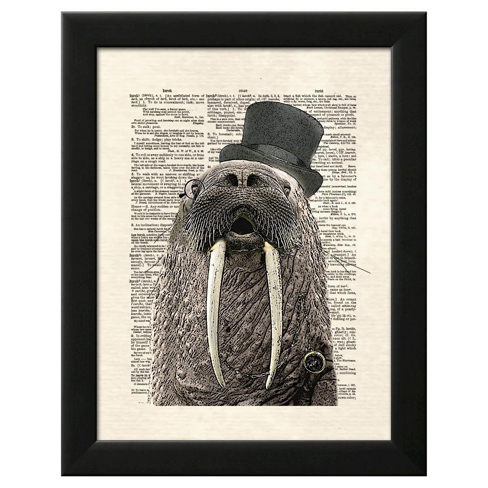 Walrus With Fangs Black Wood Framed Art Print, Brown