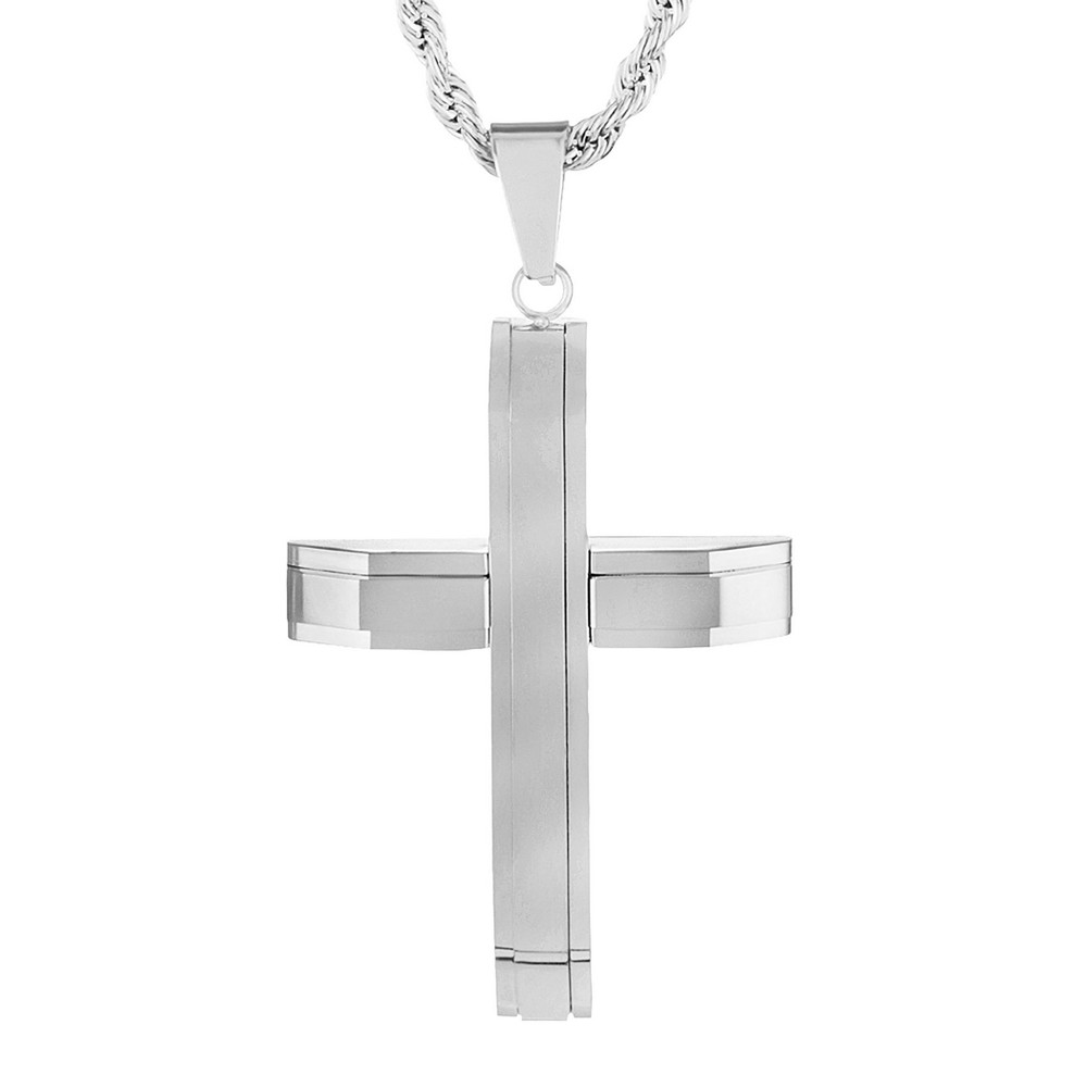 Men's Crucible Stainless Steel Layered Cross Pendant Necklace - Silver (24)