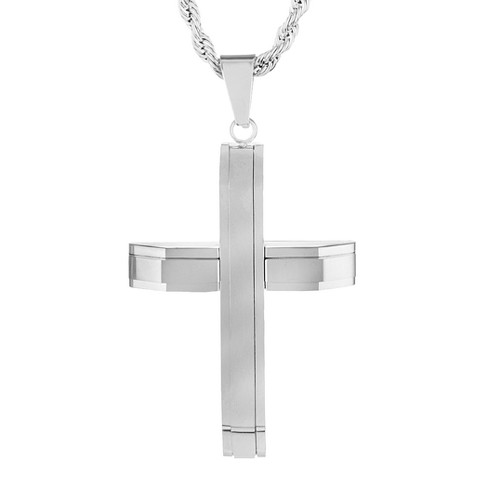 "Men's Crucible® Stainless Steel Layered Cross Pendant Necklace - (24"") - image 1 of 2"