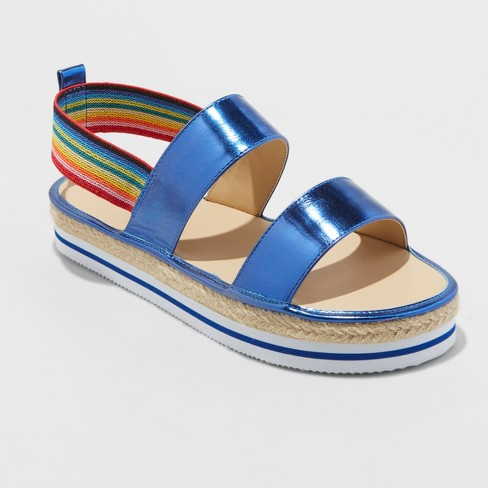8d069e2ee7bd Girls  Metallic Espadrille Platform Rainbow Slide Sandals - Cat   Jack™    Target