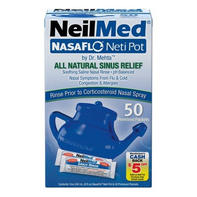 NeilMed NasaFlo Neti Pot Sinus Relief with Premixed Packets - 50ct