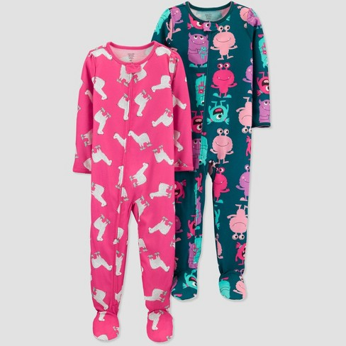 Toddler Girls' Monster 100% Cotton One Piece Pajama - Just One You® made by carter's Green - image 1 of 1
