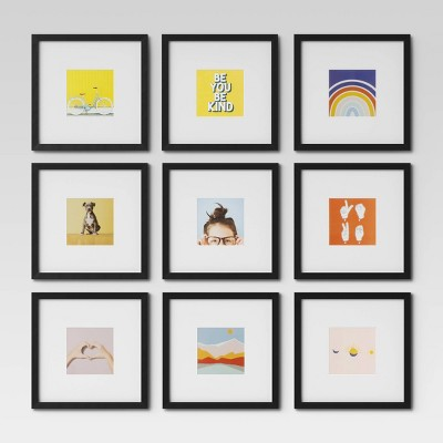 "Set of 9 Gallery Frame Set 10"" x 10"" Matted to 5"" x 5"" Black - Room Essentials™"
