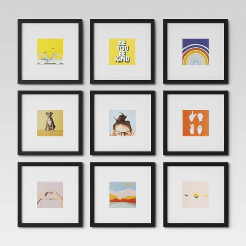 Set Of 9 Gallery Frame Set 10 X 10 Matted To 5 X 5 Black Room Essentials Target