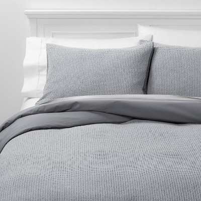 Full/Queen Washed Waffle Weave Duvet Cover & Sham Set Gray - Threshold™