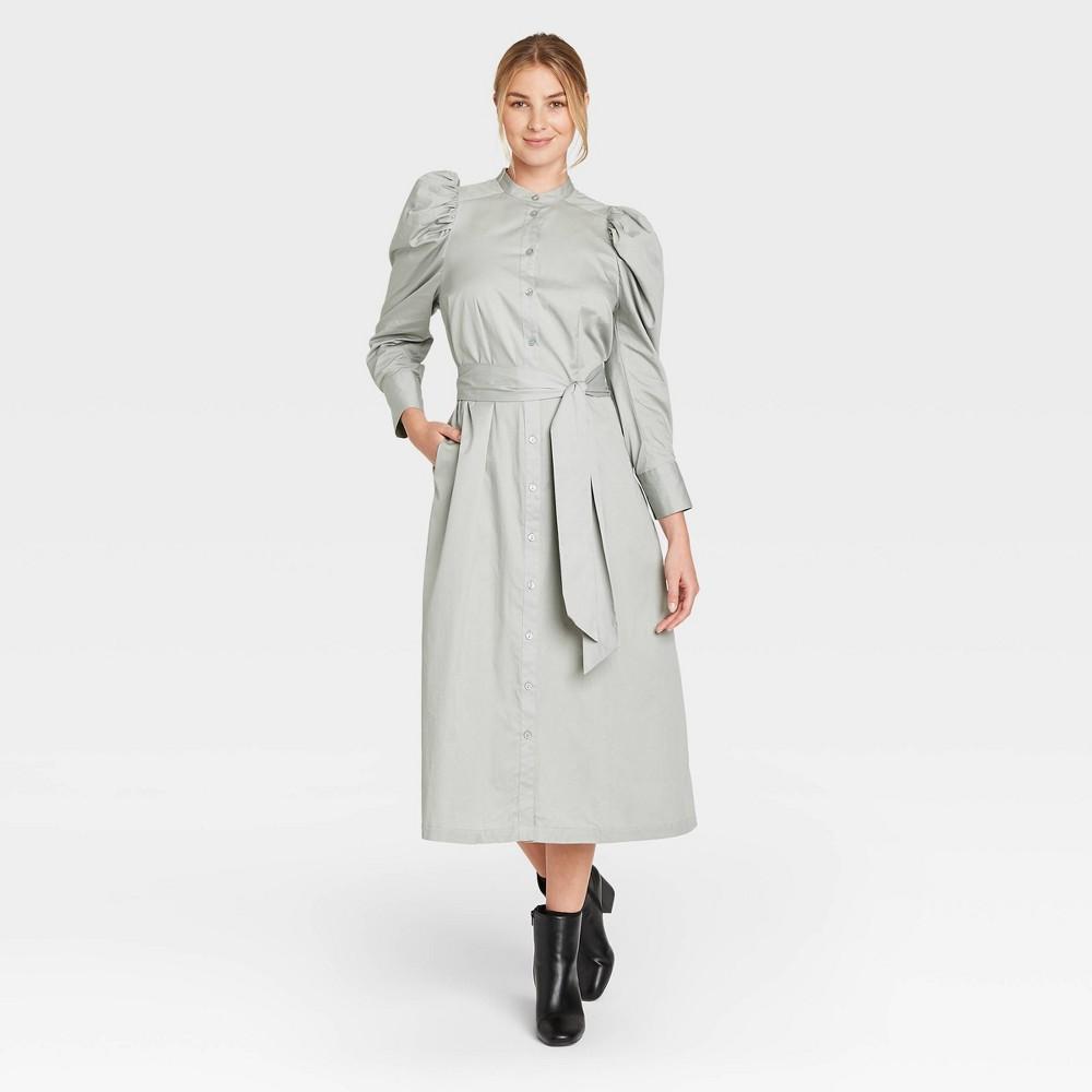 Vintage Shirtwaist Dress History Womens Puff Long Sleeve Shirtdress - Prologue Green XXL $26.59 AT vintagedancer.com