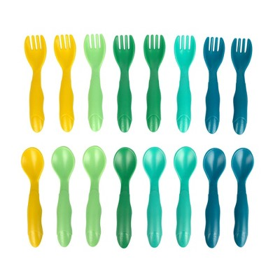 The First Years GreenGrown Reusable Flatware - Toddler Forks & Spoons - Blue - 16pk