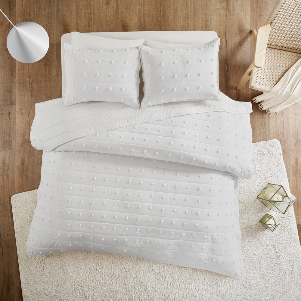 Image of 2pc Twin/Twin XL Kay Cotton Jacquard Coverlet Set Ivory