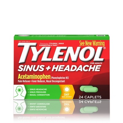 Tylenol Sinus Daytime Non-Drowsy Congestion & Pain Relief Caplets - 24ct