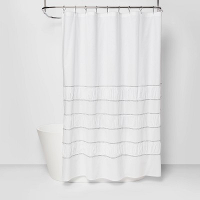 Pieced Pleated Embroidered Shower Curtain White - Threshold™