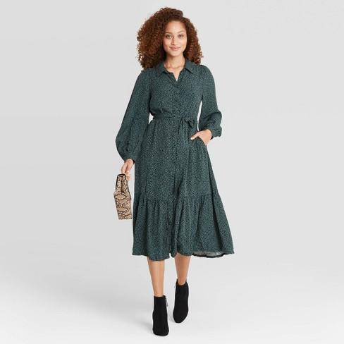 Women's Long Sleeve Tie Waist Shirtdress - A New Day™ - image 1 of 4