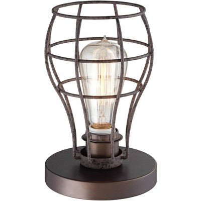 """Franklin Iron Works Industrial Modern Uplight Desk Table Lamp 9 1/2"""" High Bronze Wire Cage LED Edison Bulb for Bedroom Office"""