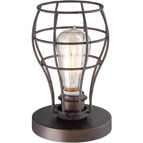 """Franklin Iron Works Industrial Modern Uplight Desk Table Lamp 9 1/2"""" High Bronze Wire Cage LED Edison Bulb for Bedroom Office - image 1 of 4"""
