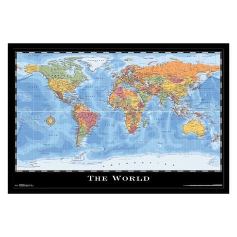 Map - World 17 Framed Poster Trends International : Target