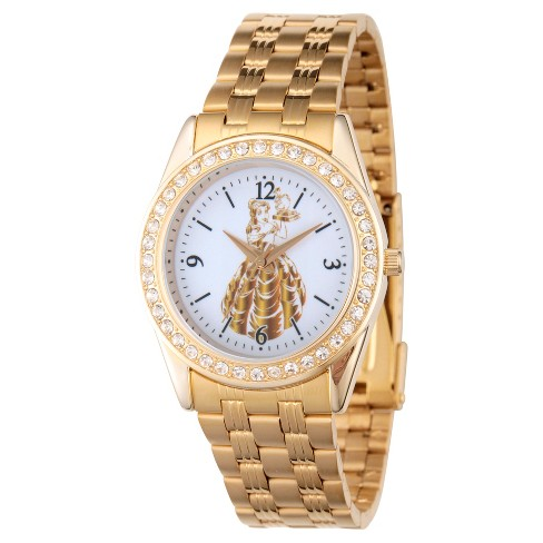 Women's Disney Princess Belle Gold Alloy Glitz Watch - Gold - image 1 of 1
