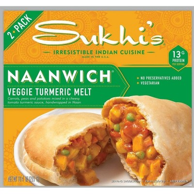 Sukhi's Vegetarian Frozen Frozen Veggie Turmeric Melt Naanwich - 10.4oz/2ct