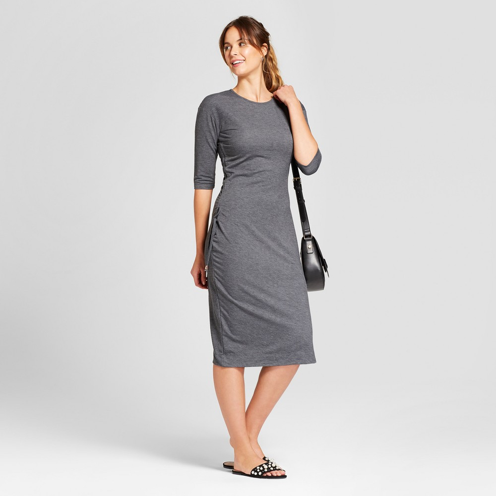Women's Heathered Cinched Waist Dress - A New Day Gray M