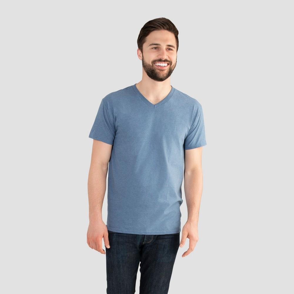 Fruit of the Loom Select Men's V-Neck T-Shirt - Durango Blue 2XL