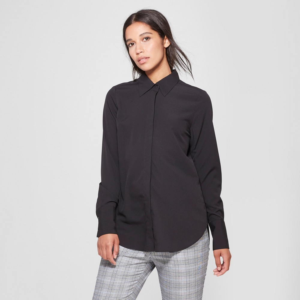 Women's Long Sleeve Collared Button-Down Blouse - Prologue Black L
